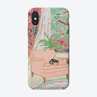 Cat Nap Tuxedo Cat Napping In Pink Interior Phone Case