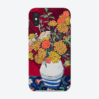 Marigold And Daisy Bouquet On Purple Floral Phone Case