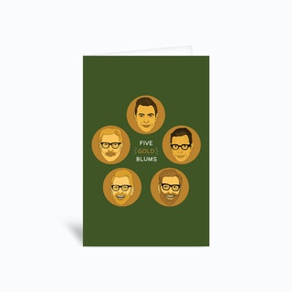Five Gold Blums Greetings Card