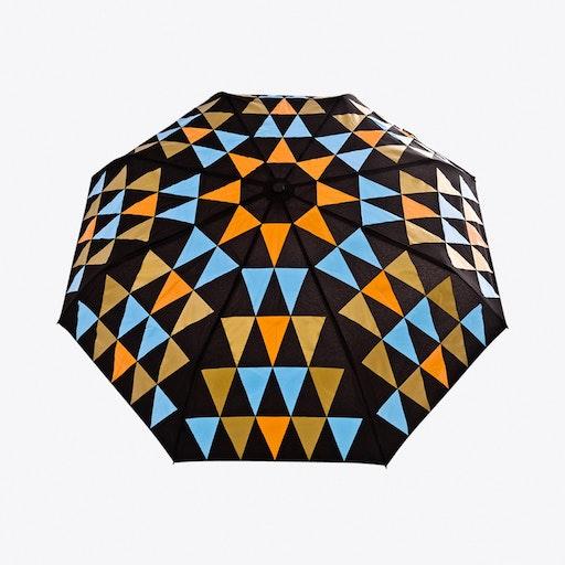 Pyramid Umbrella in Orange, Blue & Gold