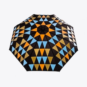 Pyramid Umbrella in Orange, Blue & Gold
