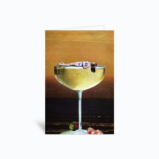 Champagne Sunset Greetings Card