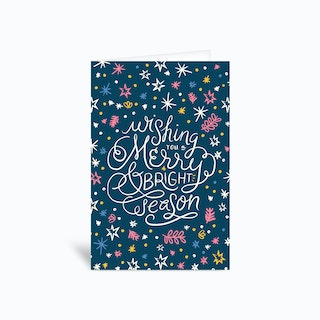 Merry Bright Snow Greetings Card