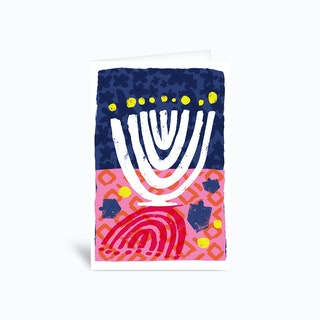 Bright Lights Menorah Greetings Card
