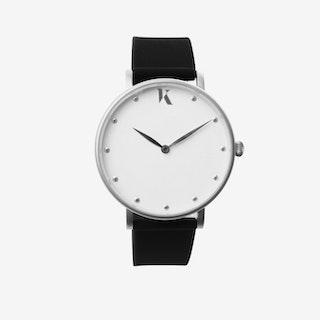 Jet Black+Silver - 38mm Watch