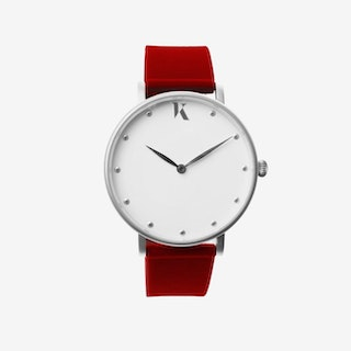 Ruby Red+Silver - 38mm Watch