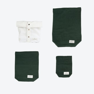 Lunch Set - Natural White Lunch Bag + Dark Green Food Bags (1+3 pcs.)