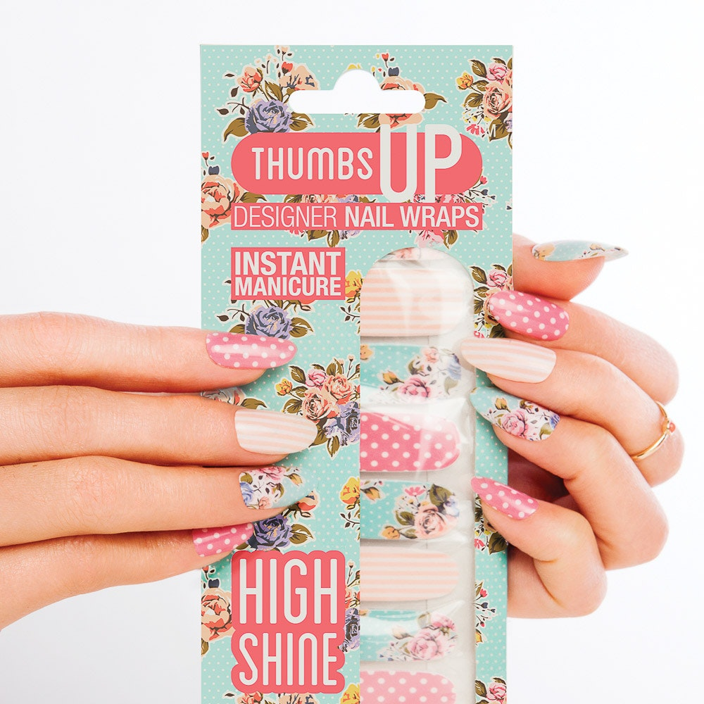 Garden Rose High Shine Nail Wraps By Thumbs Up Nails - Fy
