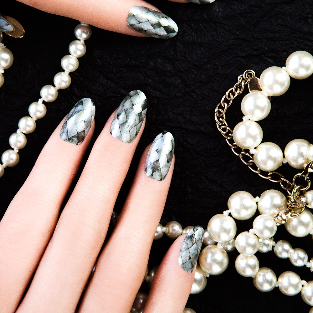 Mosaico Pearl Shine Nail Wraps By Thumbs Up Nails - Fy