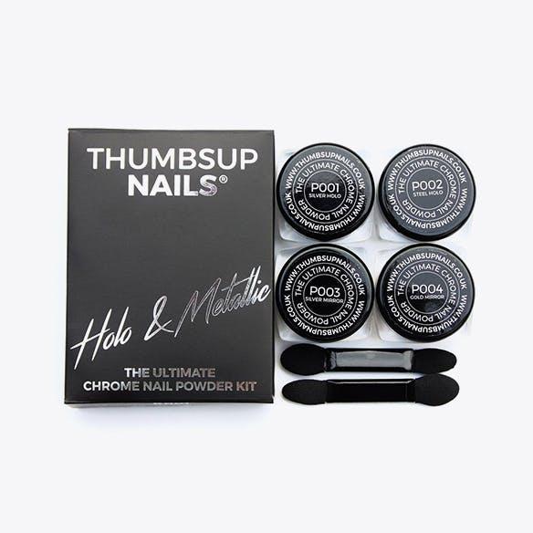 Chrome Nail Powder Kit in Holo & Metallic