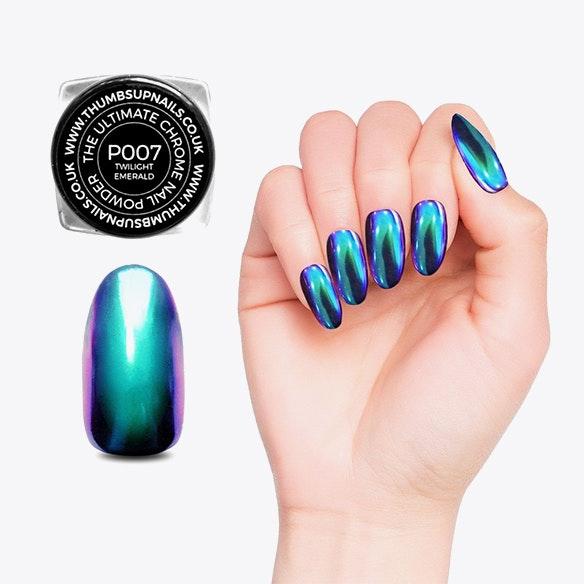Chrome Nail Powder Kit In Rainbow Mermaid By Thumbs Up Nails
