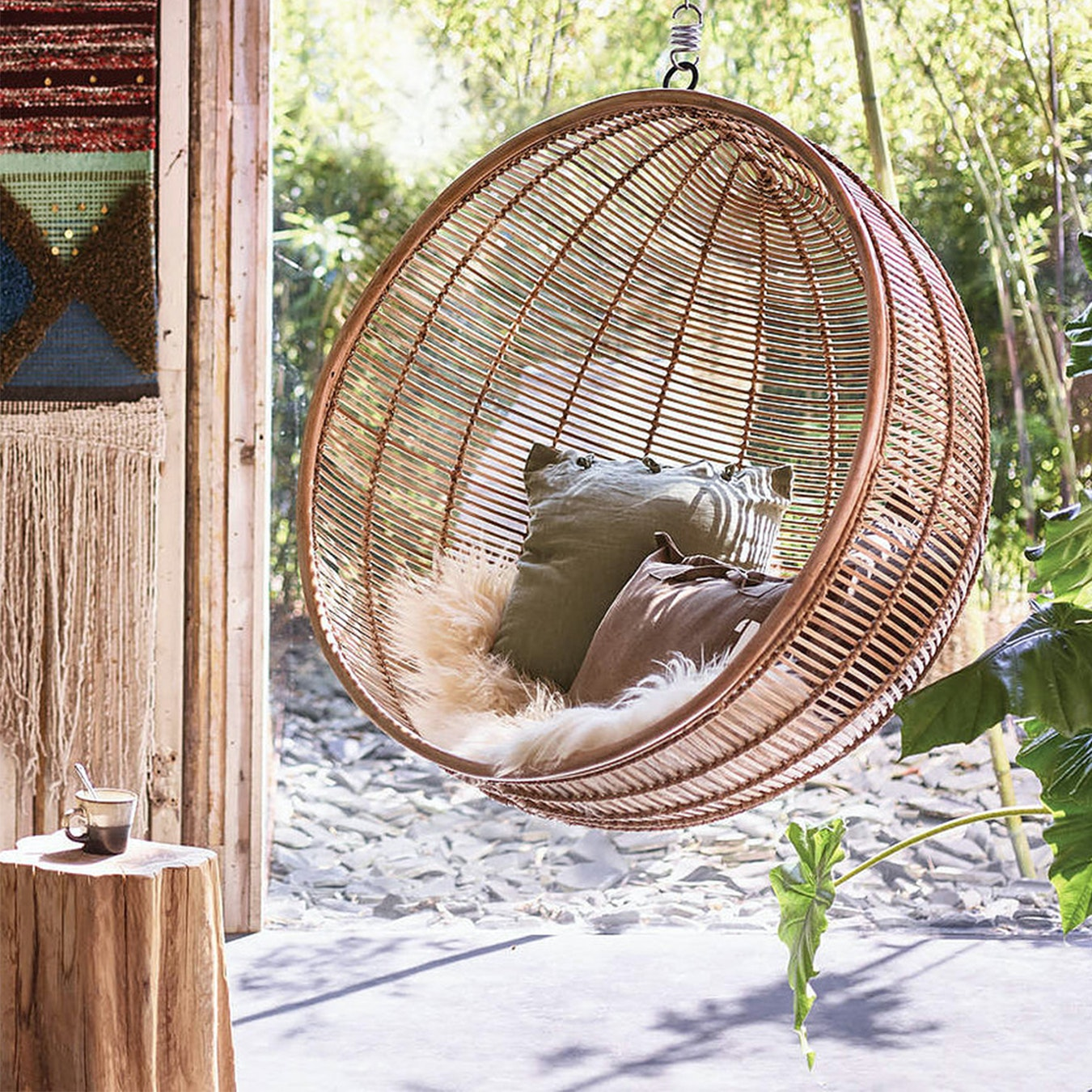 Bali Rattan Hanging Nest Ball Chair Natural By Ciel Fy