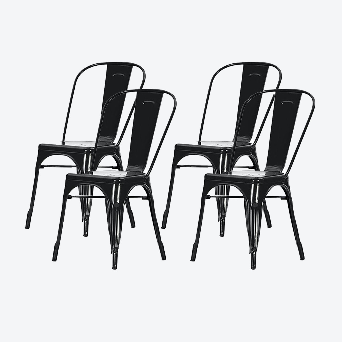 Industrial Style Metal Cafe Chair, Black, Set of 9