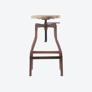 Adjustable Industrial Swivel Stool Wood Top, Antique Copper