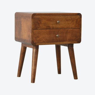 Curved Chestnut Bedside