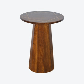 Gold Geometric Print Chestnut End Table