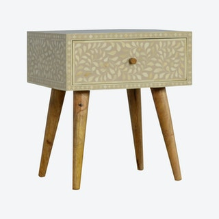 Floral Bone Inlay Bedside