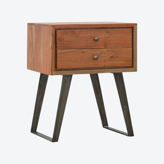 Caramel Bedside with Iron Legs