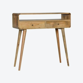 Curved Oak-ish Console Table