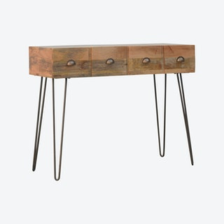 Solid Wood 4 Drawers Console Table with Iron Base