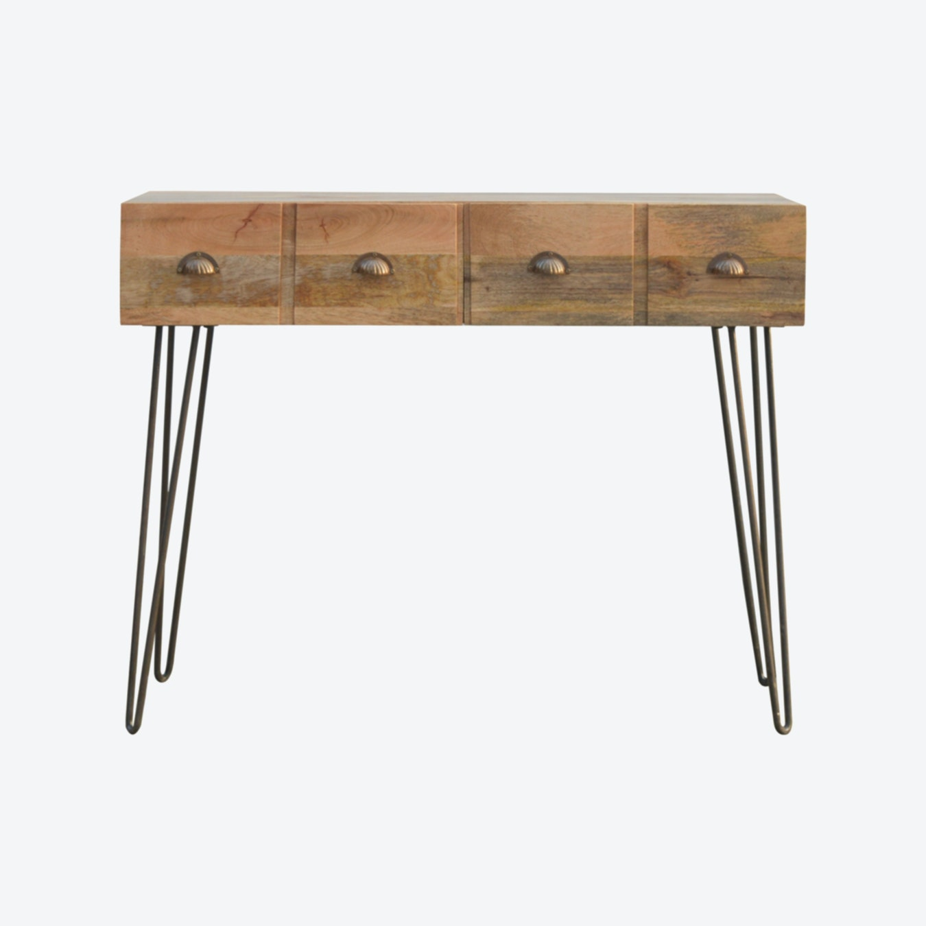 Solid Wood 4 Drawers Console Table With Iron Base By Artisan Furniture Fy
