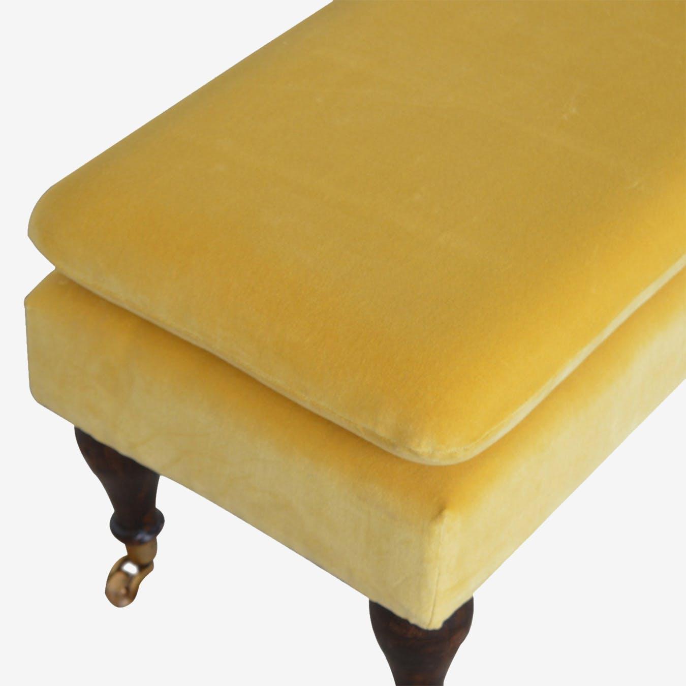 Bench With Castor Legs Mustard Velvet By Artisan Furniture Fy