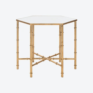 Iron Accent Table in Gold With Mirror Glass Top - 1