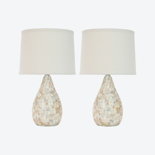 Elegant Shell Table Lamp in Ivory ( Set of 2 )
