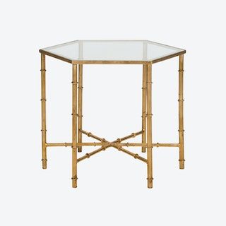 Iron Accent Table in Gold With Clear Glass Top - 1