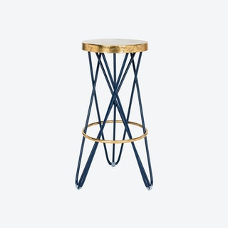 Iron Gold Accent Bar Stool in Navy - 2