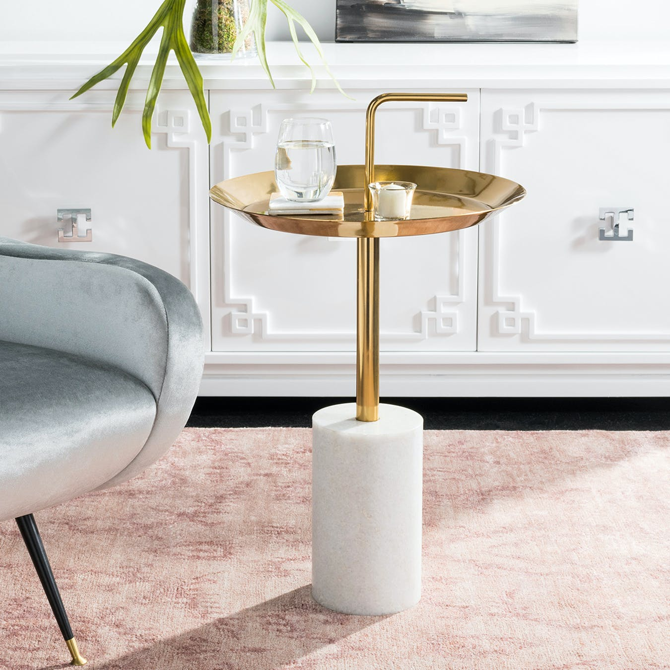 Picture of: Marble Brass Top Side Table In Brass Marble Base By Safavieh Fy