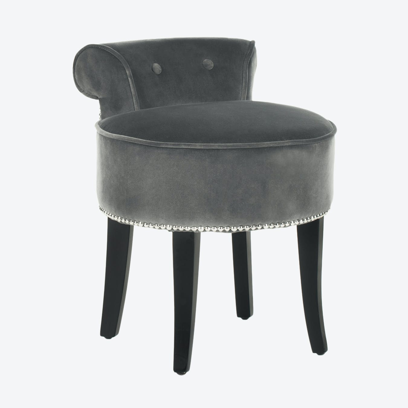 Upholstered Vanity Stool Anthracite Grey By Safavieh Fy