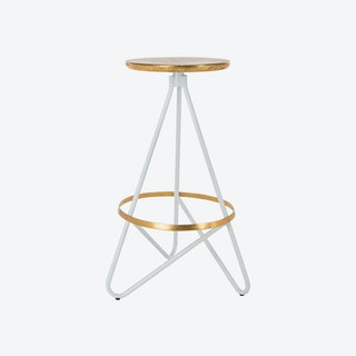 Iron Bar Stool in White & Gold