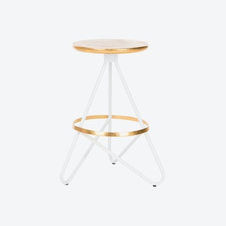 Iron Counter Stool in White & Gold