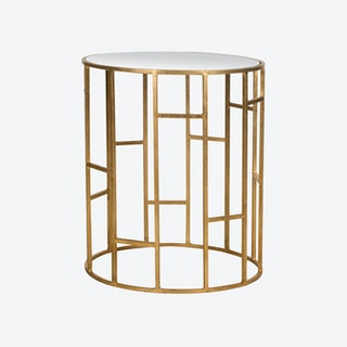 Iron Accent Table in Gold With Mirror Glass Top - 6