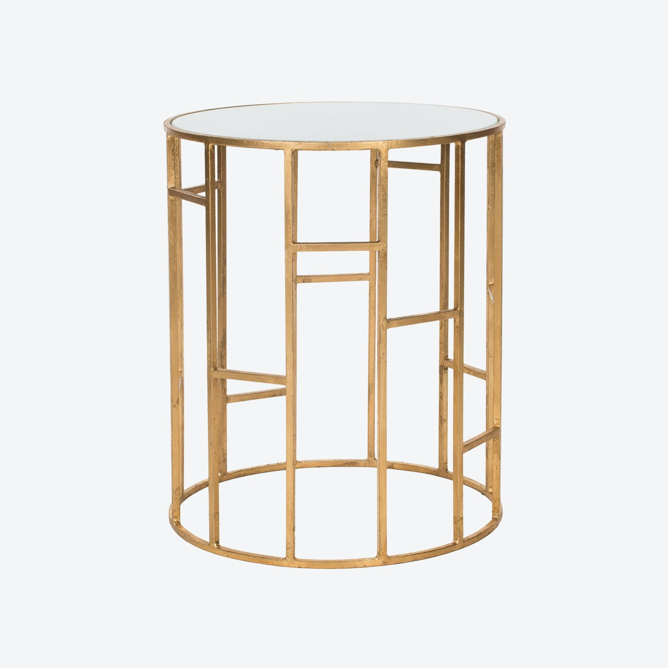 - Iron Accent Table In Gold With White Glass Top - 5 By Safavieh - Fy