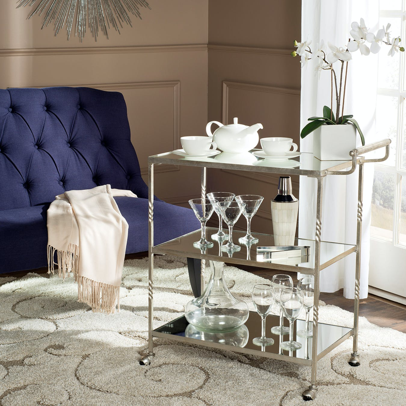Glam Bar Cart In Silver With Mirror Glass Top 5 By Safavieh Fy
