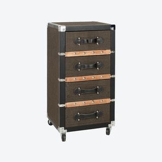 4-Drawer Rolling Chest in Black, Brown & Silver