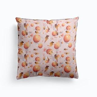 Peachy Bolts Salmon Cushion