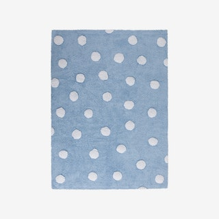 Polka Dots - Blue - White - Washable Rug