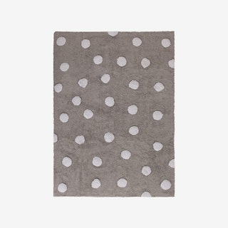 Polka Dots - Grey - White - Washable Rug