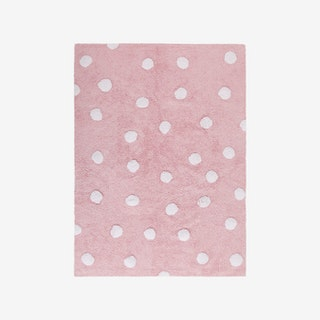Polka Dots - Pink - White - Washable Rug
