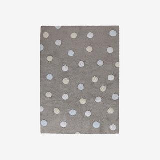 Tricolor Polka Dots Grey - Blue - Washable Rug