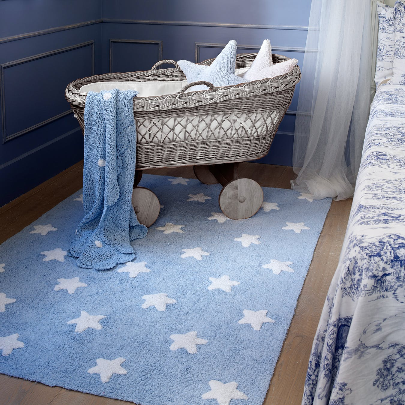 Picture of: Stars Blue White Washable Rug By Lorena Canals Us Fy