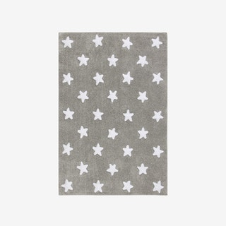 Stars Grey - White - Washable Rug