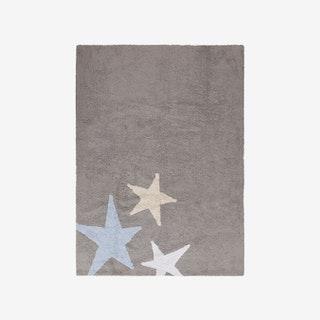 Three Stars Grey - Blue - Washable Rug