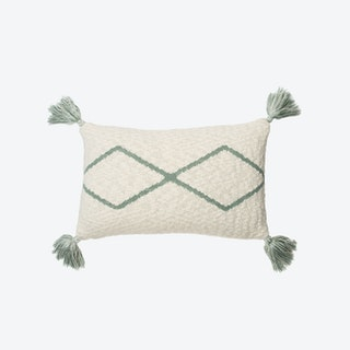 Knitted Cushion Little Oasis Nat - Indus Blue