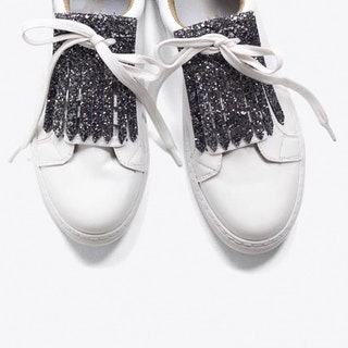 Glitter Shoe Fringe in Gunmetal