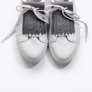 Leather Shoe Fringe in Light Grey
