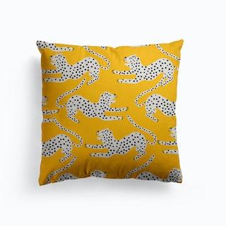 Jungle Leopard Amber Canvas Cushion